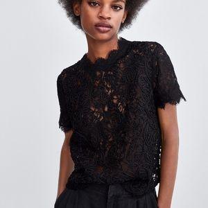 Zara Lace Crochet Short Sleeve Top Black Scalloped